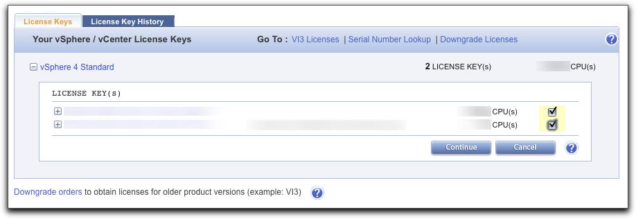 Selecting vSphere Keys to Combine