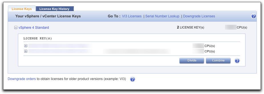 List of vSphere License Keys